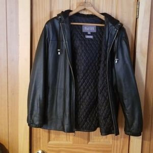 Black Wilson's Leather hooded jacket
